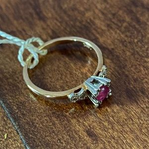 Antique 14kt two tone fishtail ruby ring